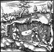 Bergmann mit Fäustel und Bergeisen beim Schachtvortrieb.