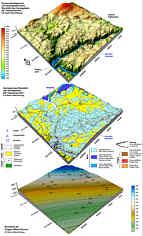 Geomorphologisches  und  hydrographisches  Blockbild  mit  dem Aschenbrunnen (oben), geologisches Blockbild (Mitte) sowie Blockbild des tektonischen Bezugshorizontes der Dogger-Malm-Grenze mit Verbiegungs- und Bruchtektonik (unten) im Karstgebirge von Pottenstein/Ofr. (Nördliche Frankenalb); 2,5-fache Überhöhungen.