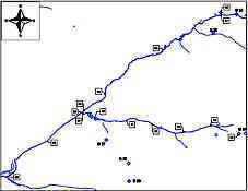 Karte der Probenahme- und Messpunkte im Hembachgebiet