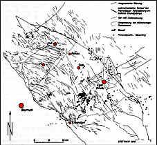Karte der bruchtektonischen Elemente und der Mineralquellen im Nordbayerischen Grundgebirge