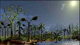 mitteleuropäische Landschaft im Karbon