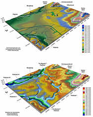 Geomorphologisches und hydrographisches Blockbild sowie Blockbild der Quartärbasis im Stadtgebiet von Nürnberg.