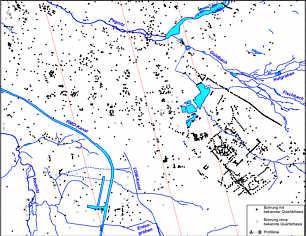 Karte der zur Modellierung herangezogenen Bohrpunkte im Stadtgebiet von Nürnberg.