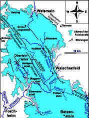 Tektonisch-Hydrografische Übersichtskarte der Nördlichen Frankenalb mit dem Leinleitergebiet an ihrem Westrand
