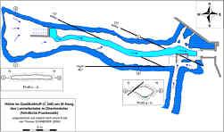 """Grundlinienplan und Gangprofile sowie Lage der tektonischen Trennflächen in der Kalktuffhöhle """"C 248"""" bei Oberleinleiter/Ofr."""