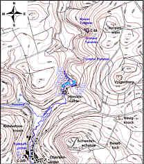 Karte der Wasserproben-Entnahmestellen am 26.02.08 und am 08.08.08 im Leinleitertales an der Heroldsmühle nördlich Heiligenstadt/Ofr.