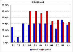 Messwerte der Chlorid-Gehalte in den Quellwässern und im Bachwasser der Leinleiter am 26.02.08 und am 08.08.08.