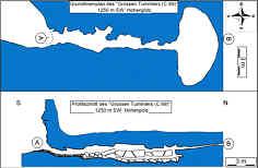 """Grundlinienplan und Profil des """"Großen Tummler C 69"""" im Trockental der Leinleiter 900 m NNE´ der Heroldsmühle"""
