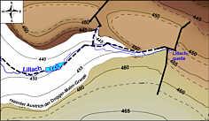 Karte des tektonischen Bezugshorizontes der Dogger/Malm-Grenze im Lillachtal.