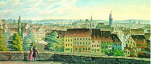 Blick von der Burgfreiung auf die Altstadt 1840