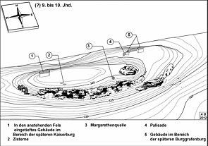3D-Darstellung der Burg zu Nürnberg (?)9. bis 10. Jhd.