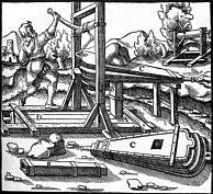 Künstliche Bewetterung eines abgeteuften Schachtes; n. AGRICOLA (1556).
