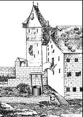 Rekonstruktion des alten Ziehbrunnens der 1420 zerstörten Burggrafenburg;  neugezeichnet und modifiziert nach einer Federzeichnung der Kaiserstallung mit Brunnen um 1535 (Stadtarchiv Nbg.).
