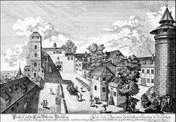 Das Brunnenhaus (Mitte) des Tiefen Brunnen der Kaiserburg zu Nürnberg um 1724 auf einem kolor. Kupferstich von Johann  Adam Delsenbach (1687 - 1765); Bildquellennachweis: Museen der Stadt Nürnberg, Graphische Sammlung.