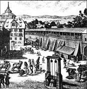 Historischer Stich des mittelalterlichen Ziehbrunnens am Tiergärtnertor in der NW' Altstadt von Nürnberg.