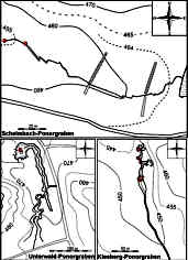 Grundlinienpläne des Schelmbach-, des Unterwald- und des Kleeberg-Ponorgrabens im Schelmbachgebiet 2700 m SSE´ Krottensee (Nördliche Frankenalb)