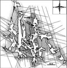 Grundriß der Bismarckgrotte mit Trennflächengefüge
