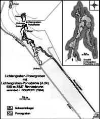 Grundlinienplan der Lichtengrabenhöhle und ihres Ponorgrabens