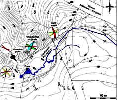 Vermessungskarte des Eichelgarten-Ponorgrabens SE´ der Mysteriengrotte 1200 m SSE´ Krottensee