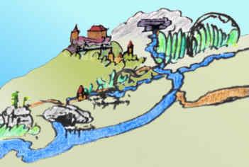 Ausschnitt der zwischen 1533 und 1553 entstandenen Karte der Stadt Pegnitz mit der Ansicht der damals noch unzerstörten Burg Böheimstein, der Stadt Pegnitz, der Flusskreuzung sowie der Röschmühle mit dem Wasserberg; rezent koloriert von Peter Wenzel/Pegnitz. Fundort: Staatsarchiv Amberg.