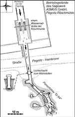 """Grundriss der ehem. Wasserradstube der Röschmühle, des Mühlstollens und der Ponorhöhle AD 84"""" am N Hang des Wasserberges in Pegnitz/Ofr. Verändert n. CRAMER (1926) und BAIER et al. (1994)."""