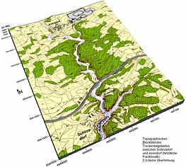 Topographisches Blockbild des Trochentalgebiets von Schirradorf/Ofr.