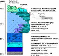 Schematisches Schichtenprofil des Karstgebiets von Schirradorf