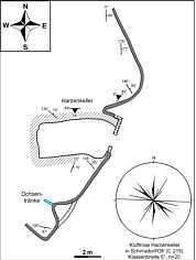 """Grundlinienplan des """"Harzenkeller"""" (C 219) nördlich Schirradorf/Ofr. nebst tektonischen Elementen."""