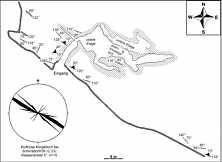 """Grundlinienplan des """"Klingelloch"""" (C 33) nördlich Schirradorf/Ofr. nebst tektonischen Elementen."""