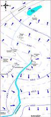 Grundwasser-Gleichenplan des (Trocken-) Talgebiets nördlich Schirradorf/Ofr. am 30. Sept. 2010.