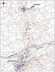 Karte der Wasserproben-Entnahmepunkte im Trockentalgebiet nördlich Schirradorf/Ofr.
