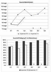 Messwerte der Sauerstoffgehalte und -sättigungsgrade im Untersuchungsgebiet nördlich Schirradorf/Ofr.