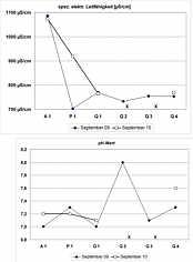 Messwerte der spez. elektr. Leitfähigkeiten und der pH-Werte im Untersuchungsgebiet nördlich Schirradorf/Ofr.