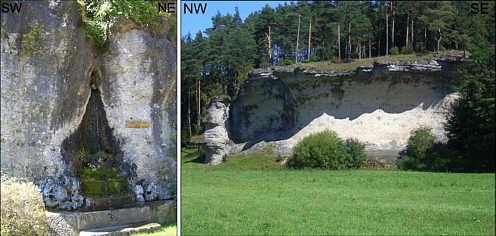"""Die """"Ochsentränke"""" und der """"Schwalbachstein"""" mit dem """"Prophetenbrunnen"""" im Karstgebiet von Schirradorf/Ofr."""