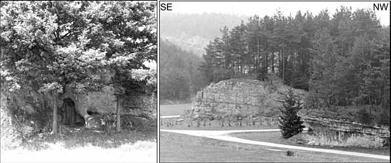 """Der """"Schinderkeller"""" (C 150) im Karstgebiet von Schirradorf/Ofr. vor und nach seiner Zerstörung"""