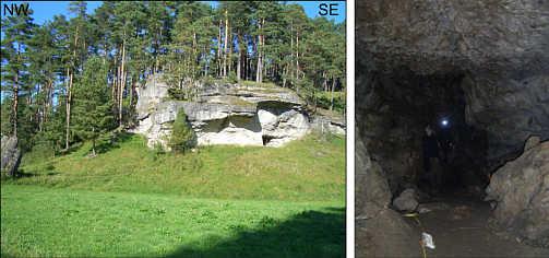 """Der Eingang zur """"Klingellochhöhle"""" (C 33) und ihr Höhleninneres."""