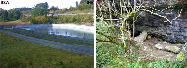 Absetzbecken südlich der BAB 70 sowie verfüllte Karströhre im Trockentalgebiet von Schirradorf/Ofr.