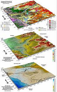 Geologisches, geomorphologisches und hydrographisches Blockbild sowie Blockbild des tektonischen Bezugshorizontes mit Bruchtektonik im Stadtgebiet von Nürnberg.