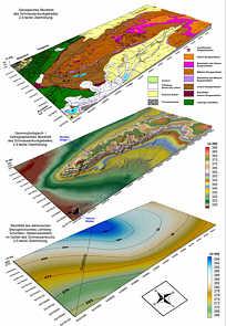 Geologisches, geomorphologisches und hydrographisches Blockbild sowie Blockbild des tektonischen Bezugshorizontes mit Bruchtektonik im Schmausenbuckgebiet E´ Nürnberg.