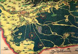 """Ausschnitt aus der """"Mappa 24. September 1593"""" des """"Pfinzing-Atlas von 1594"""