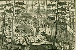 Die Buchenklinge im Jahre 1615 auf einem Kupferstich eines unbekannten Künstlersm Nordhang des Schmausenbucks.