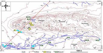 Hydrographische Karte des Schmausenbuckgebiets mit Lage der Bohrungen sowie der Wasserprobenentnahmepunkte sowie Lage des stratigraphisch/tektonischen Profils