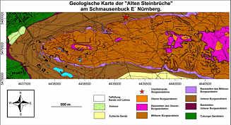 Geologische Detailkarte der alten Steinbrüche am Schmausenbuck E´ Nürnberg