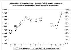 Messwerte der Sauerstoff-Gehalte sowie der Sauerstoff-Sättigungsgrade in den Grund-, Quell- und Bachwässern im Schmausenbuckgebiet am 28.07.2009.