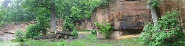 Mittlerer Burgsandstein im Raubtiergehege des Tiergartens am Schmausenbuck