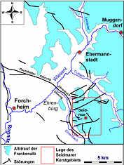 Übersichtskarte der W' Frankenalb mit der Lage des Seidmarer Karstgebirges sowie den hydrographischen und den bruchtektonischen Verhältnissen dieses Gebiets. Umgezeichnet und ergänzt nach V. FREYBERG (1969) und SCHMIDT-KALER (2004).