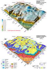 Geomorphologisches und hydrographisches Blockbild mit den Dolinen D_01 bis D_10 (oben) sowie geologisches Blockbild (unten) im Karstgebiet um Seidmar/Ofr. (Nördliche Frankenalb); 2,5-fache Überhöhungen. Nach Angaben von DORN (1958) und MÜLLER (1959) sowie eigenen Beobachtungen.