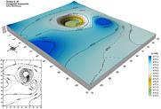 Blockbild und Kartendarstellung der Doline im Trockental 400 m WSW' Hundshaupten.