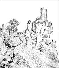 Die Burgruine Neideck um 1850. Umgezeichnet und korrigiert nach einer Skizze des Bamberger Stubenmalers Adam Friedrich Thomas Ostertag (1808 - 1872) in VOIGT & RÜFER (1984)