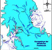 Hydrographische Übersichtskarte der Nördlichen Frankenalb mit dem Wiesent-Einzugsgebiet und der Lage des Streitberger Gebiets.